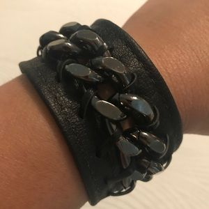 Jewelry - Hand Made Leather and Chain Cuff